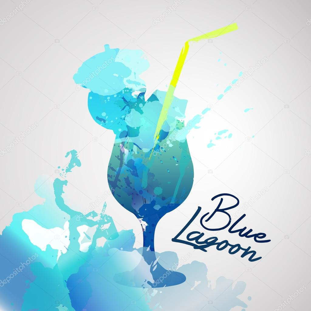 Blue lagoon with watercolor splash