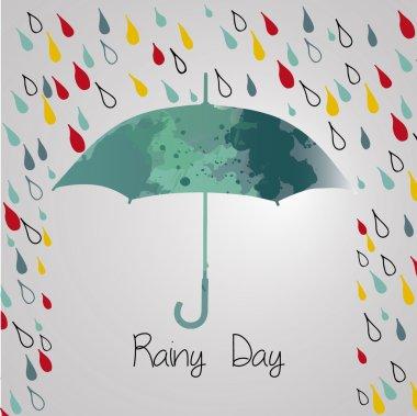Rainy autumn with  umbrella. Season of rains.rain
