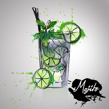 Mojito cocktails drawn watercolor blots and stains with a spray, including recipes and ingredients
