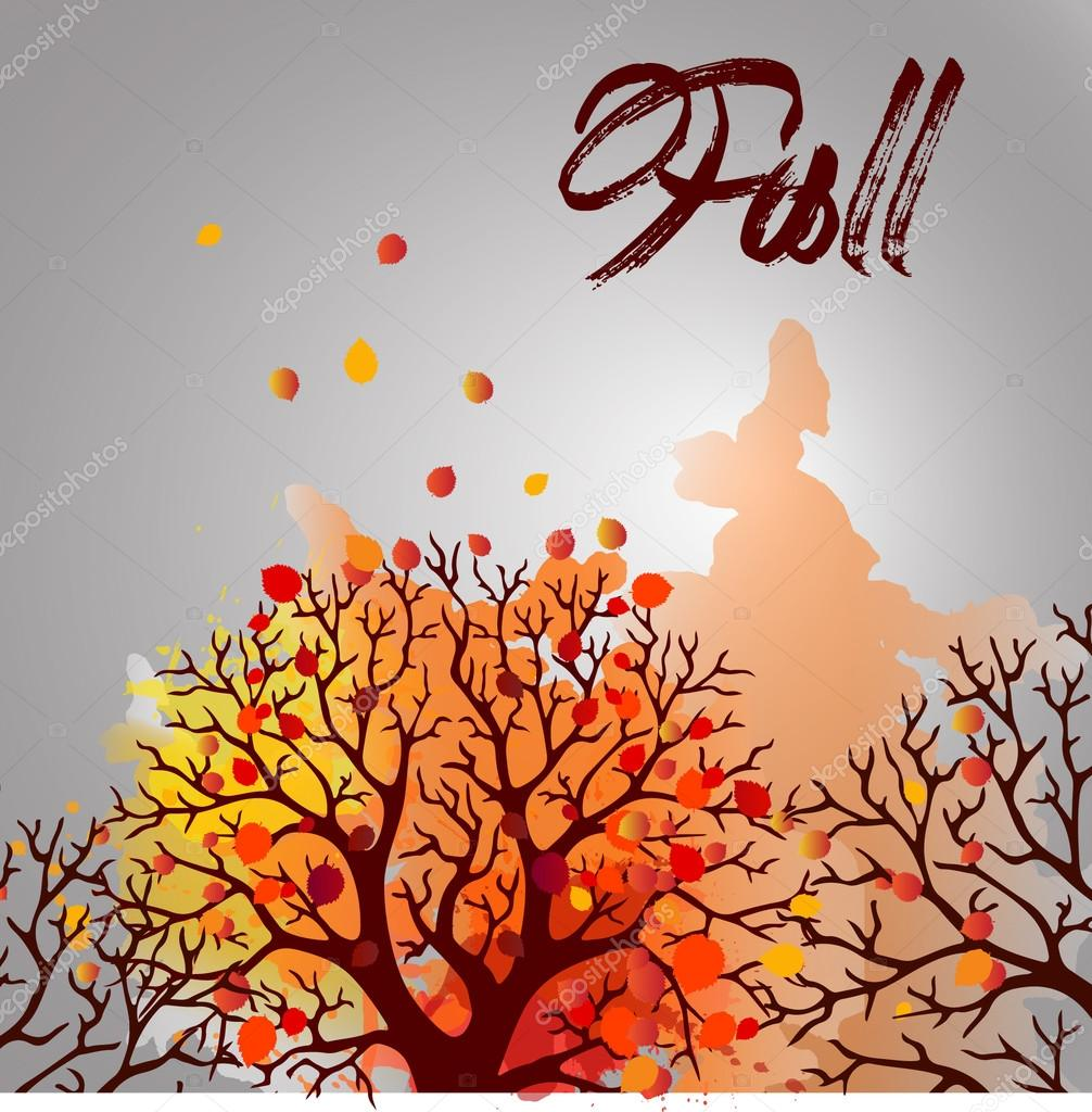 Autumn Tree With Falling Leaves on White Background. Elegant Design with Text Space and Ideal Balanced Colors.