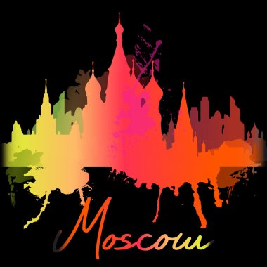 Silhouette overlay city Moscow with splashes of watercolor drops streaks landmarks