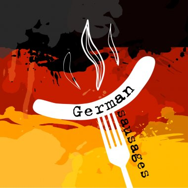 Germany Sausage. Germany banger. Sausage on a fork. Traditional delicacy in color of  flag.
