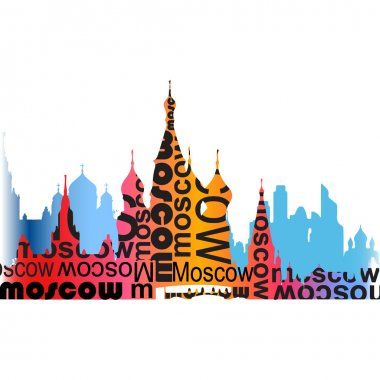 Watercolor moscow with typography
