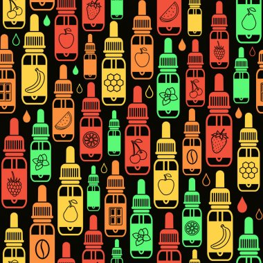 Vector seamless pattern of different flavor e-liquid. Tastes of
