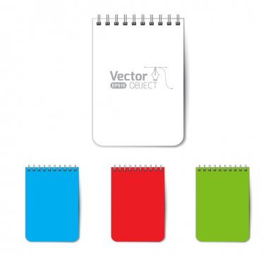 Set of colored blank notebooks