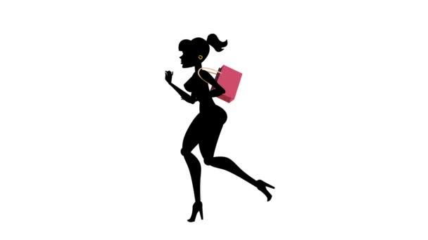 Fashion Girl Animated Character- Shopping Run Cycle 01