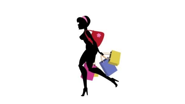 Modní dívka animovaný charakter-nakupování spuštění cyklu 03