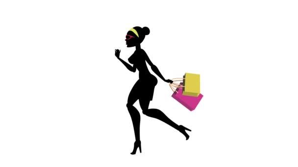 Modní dívka animovaný charakter-nakupování spuštění cyklu 02