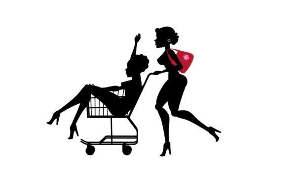 Modní dívka animovaný charakter - nákupní košík 04