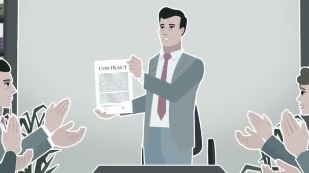 Cartoon Corporate /  Man Shows Business Contract Stroke
