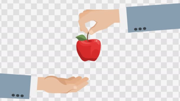 Apple In Hands. Animated scene with Alpha matte.