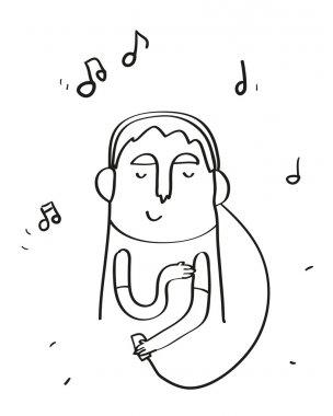 Hand drawn man with  headphones