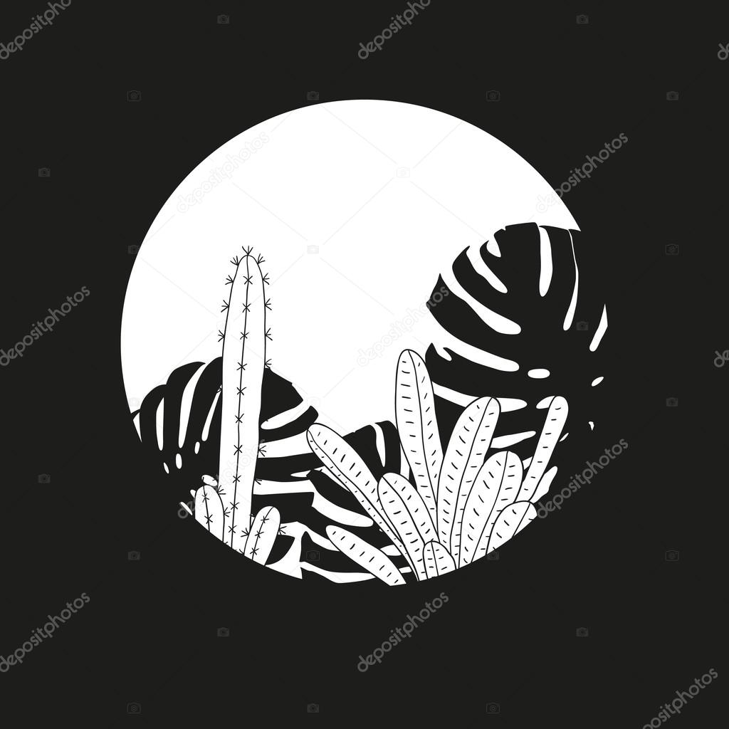 Minimalistic tropical plants illustration