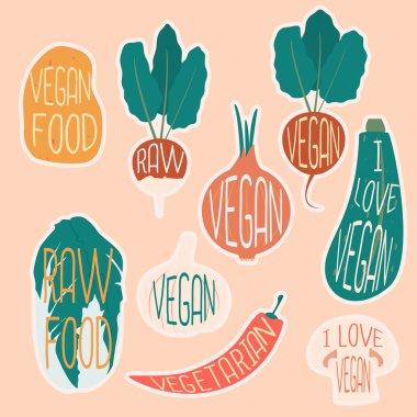Vegetarian sticker set with potato.