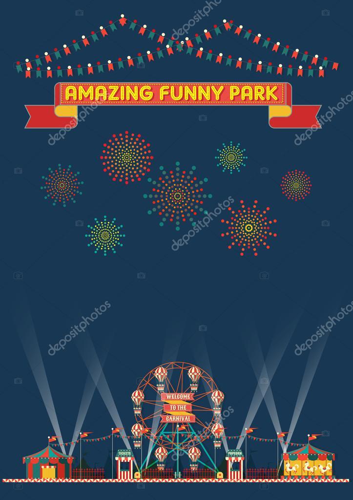 面白い公園カーニバルの夜のシーンの壁紙 ストックベクター
