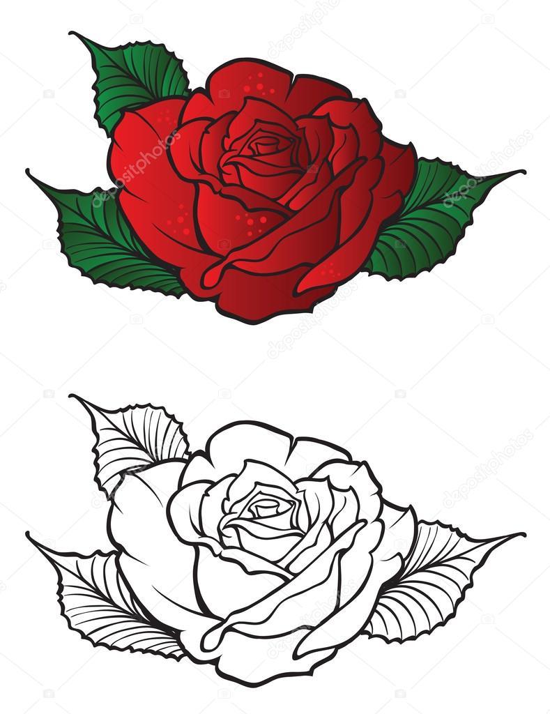 Elemento De Diseño Rosa De Tatuaje Archivo Imágenes Vectoriales