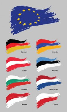 European flags. European union