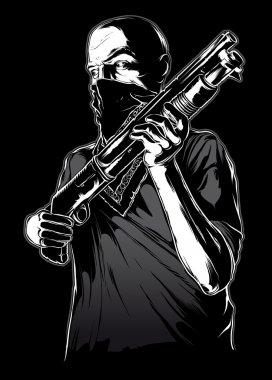 Gang member with gun