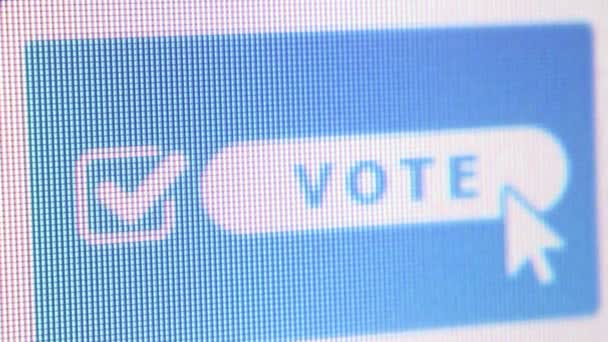 LOS ANGELES, CA - May 15, 2016: Macro CU of online voting website with  cursor hovering over blue 'Vote' icon