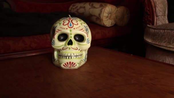 DOLLY MOVE WITH SKULL: Dolly into skull in slight arc, hold and continue