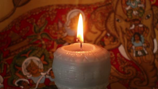 Close up of Mystical and Magical looking Burning Candle Wick  Flame (Static)