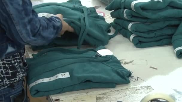 Textile Garment Factory: Workers pack completed seatshirts into bags