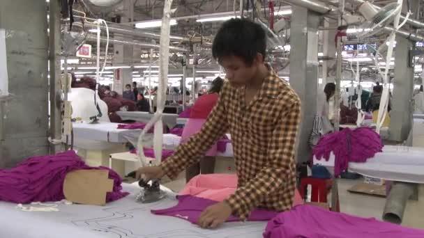 Textile Garment Factory: Male worker irons purple garments