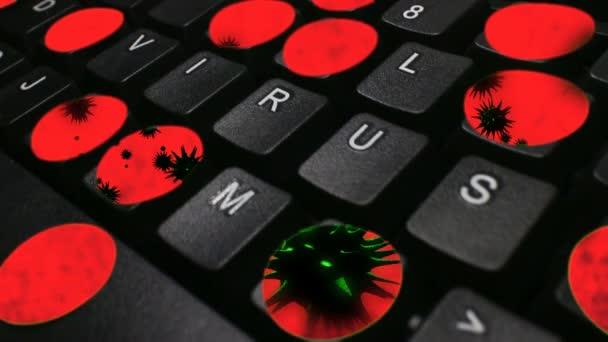 Počítačový Virus - červené virus pohybu  Dolly pohybují po klávesnice počítače