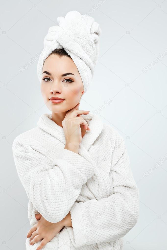 Girl wearing towel and bathrobe — Stock Photo © VelesStudio  101271266 26a11f03c