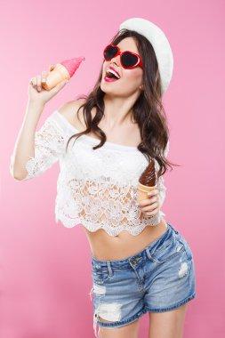 Attractive girl wearing shirt and shorts