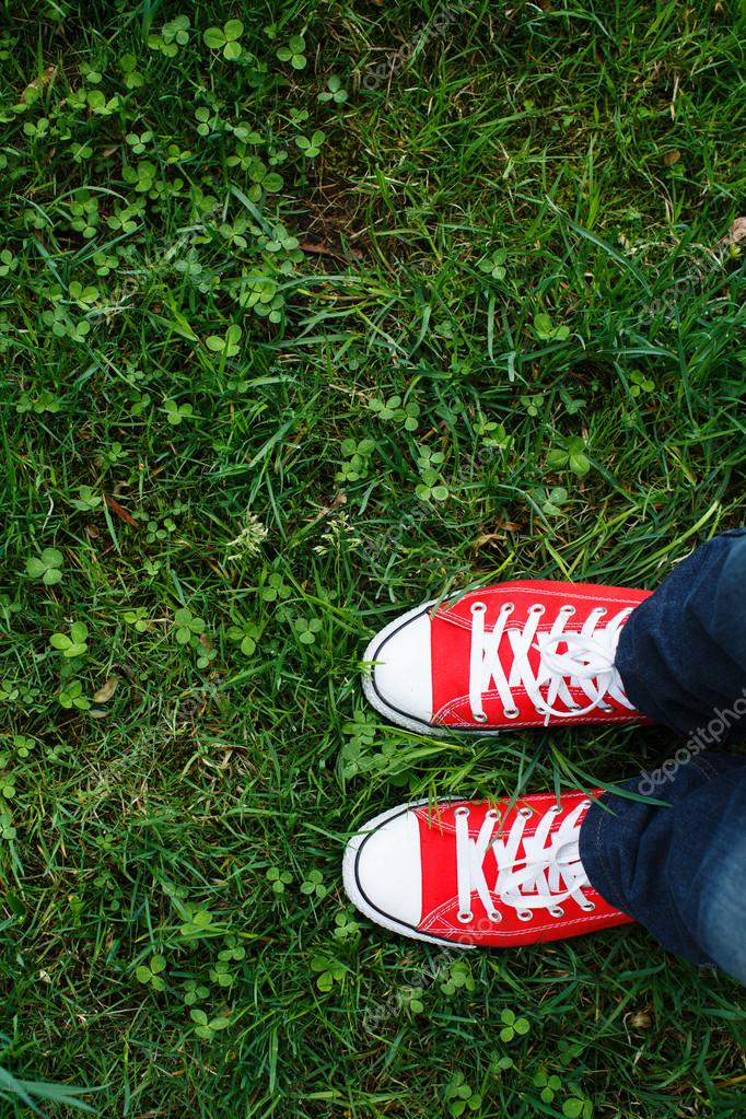 Red sneakers shoes