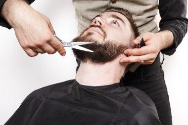 Portrait of a brutal bearded customer