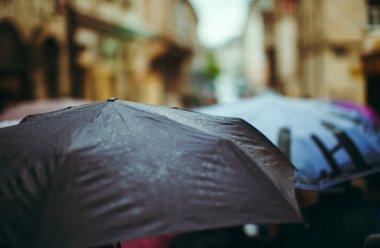 Several umbrellas on street
