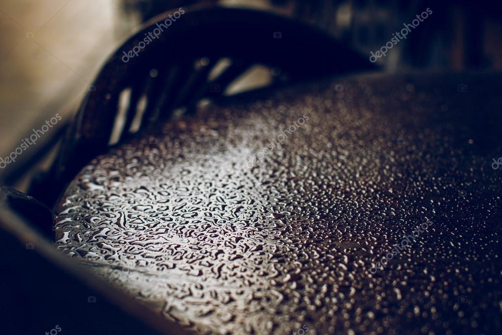 Rain drops on a table