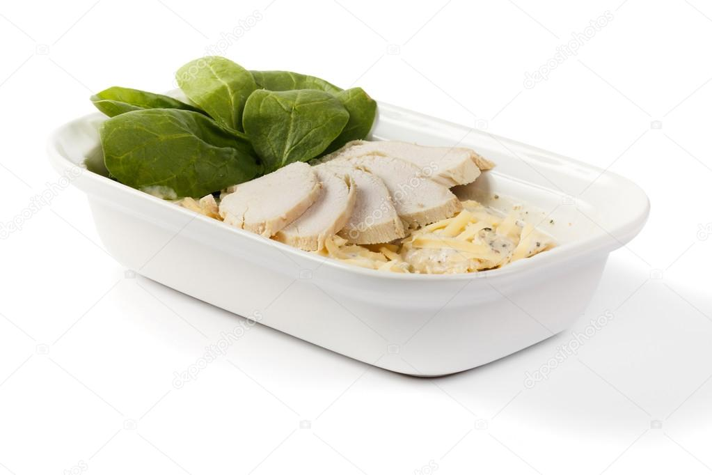 Ham, cheese in a bowl