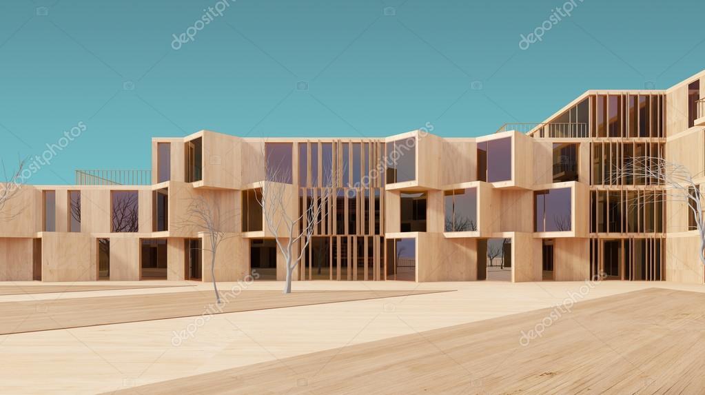 Modernes Haus Holz 3D Modell U2014 Stockfoto