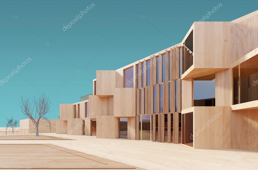 Lieblich Modernes Haus Holz 3D Modell U2014 Stockfoto