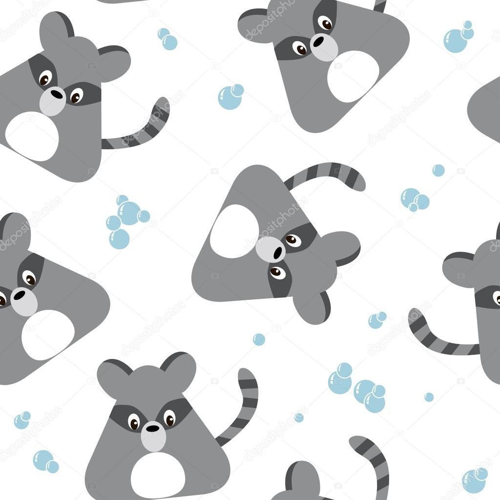Patrón transparente de mapache, ilustración vectorial — Vector de ...