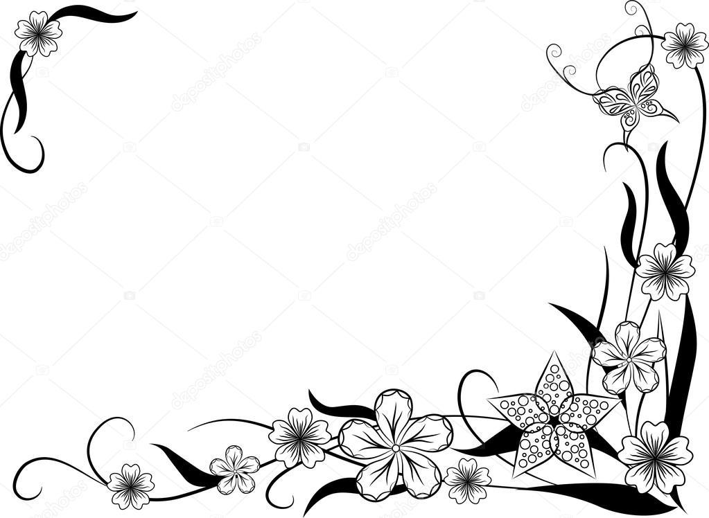 Marco adornado patrón floral para su diseño — Archivo Imágenes ...