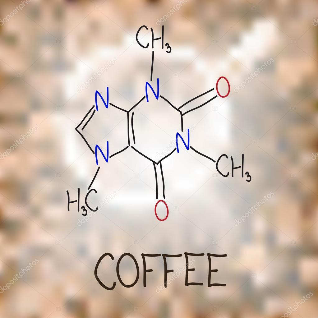 Kaffee. Die chemische Formel von Koffein — Stockvektor © kriselka1 ...
