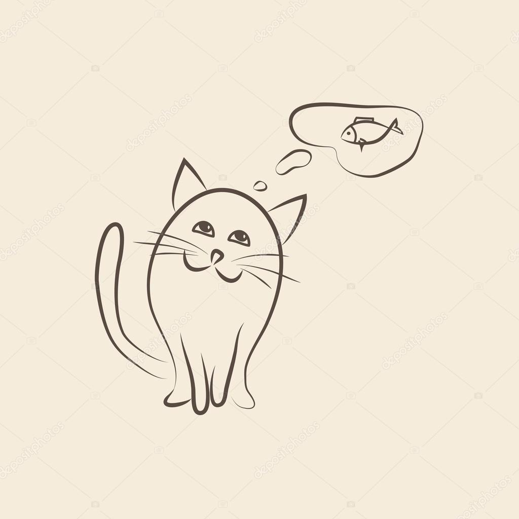 Katze denkt an Fisch. Vektor-illustration — Stockvektor © kriselka1 ...