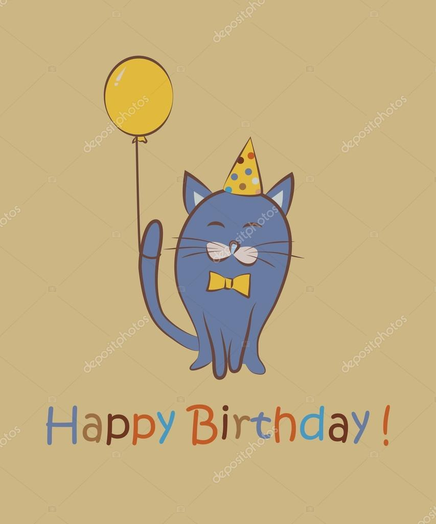 Happy birthday. Cat with tulips. Color card. Vector ...