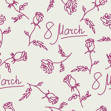 Seamless pattern of hand drawn roses. March 8. Vector illustrati