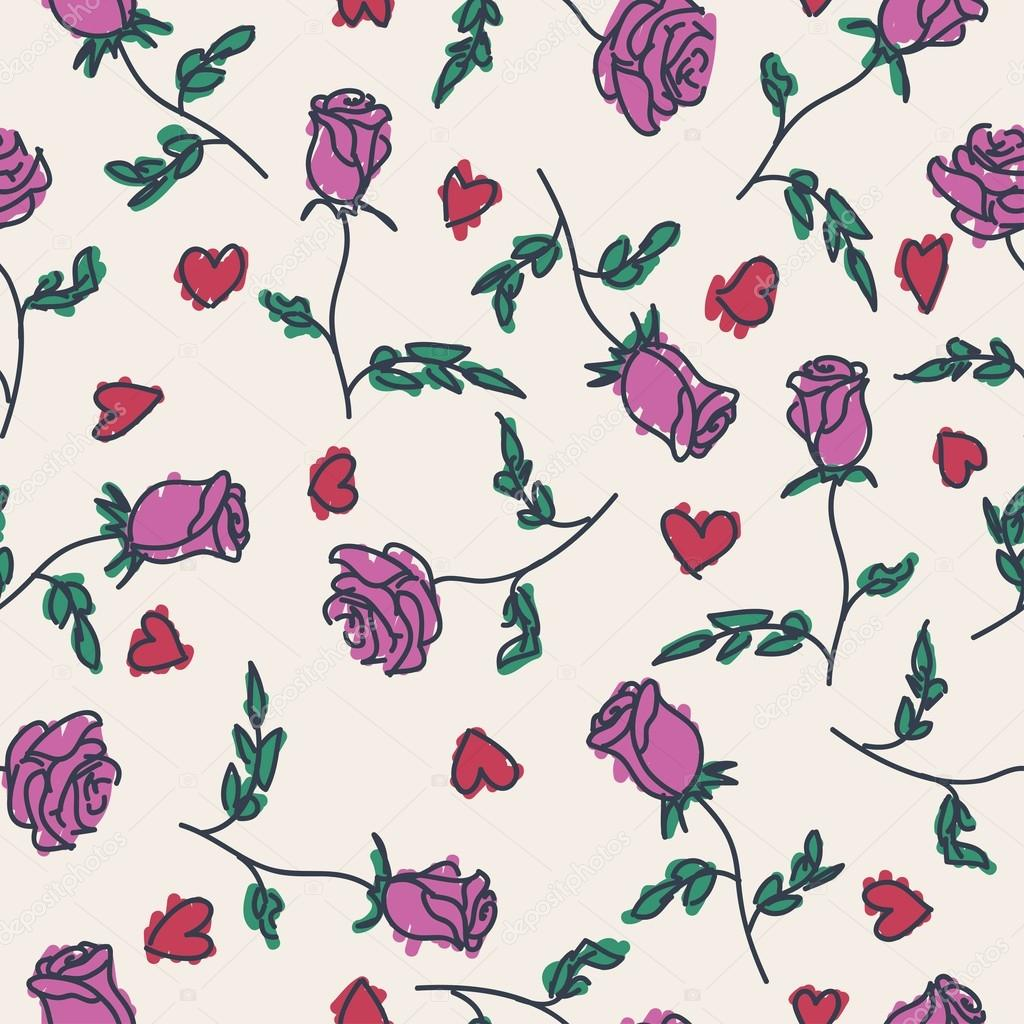 Seamless pattern of hand drawn roses. Vector illustration