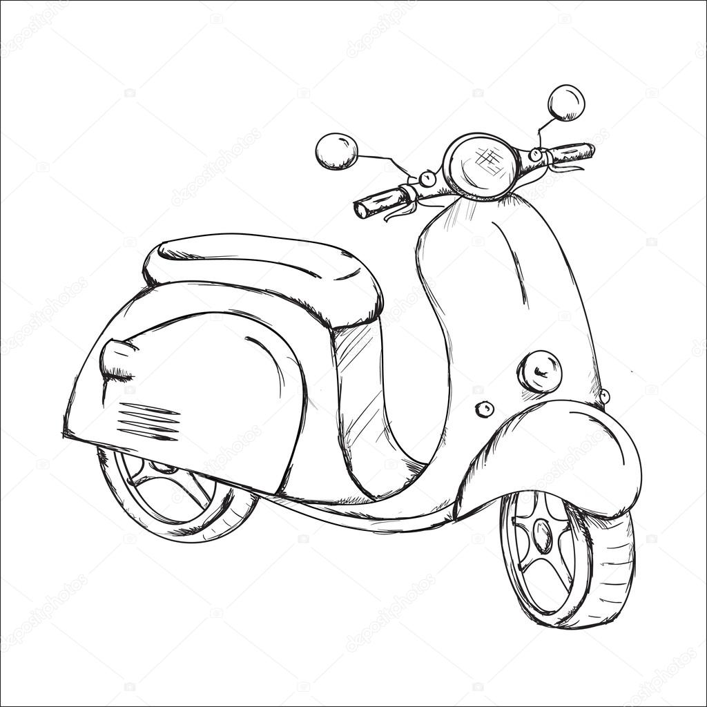 ᐈ Scooter Drawing Stock Pictures Royalty Free Vespa Drawing Vectors Download On Depositphotos