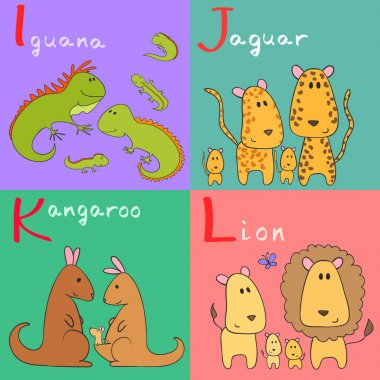 Hand drawn vector illustration of alphabet animals from I to L