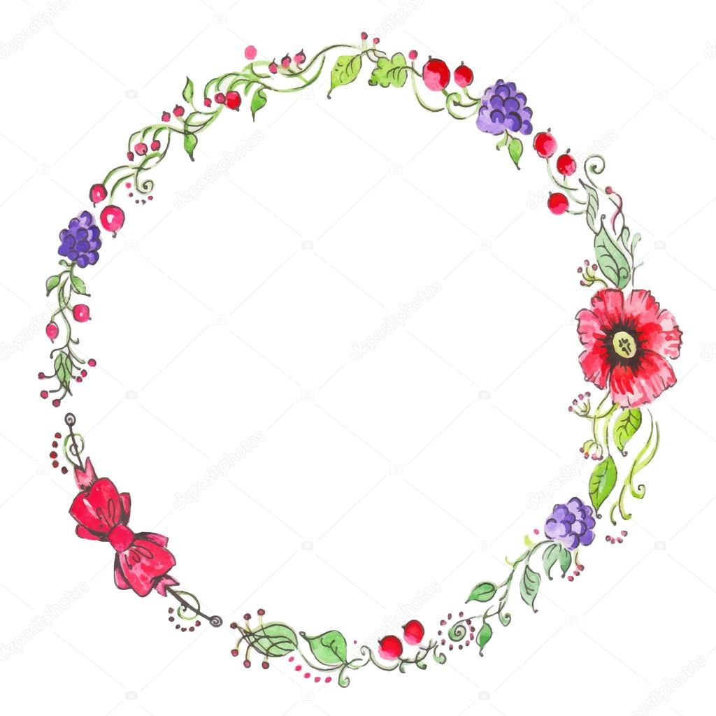 Watercolor vintage floral wreath. Hand printed round frame with flowers, barries and floral elements