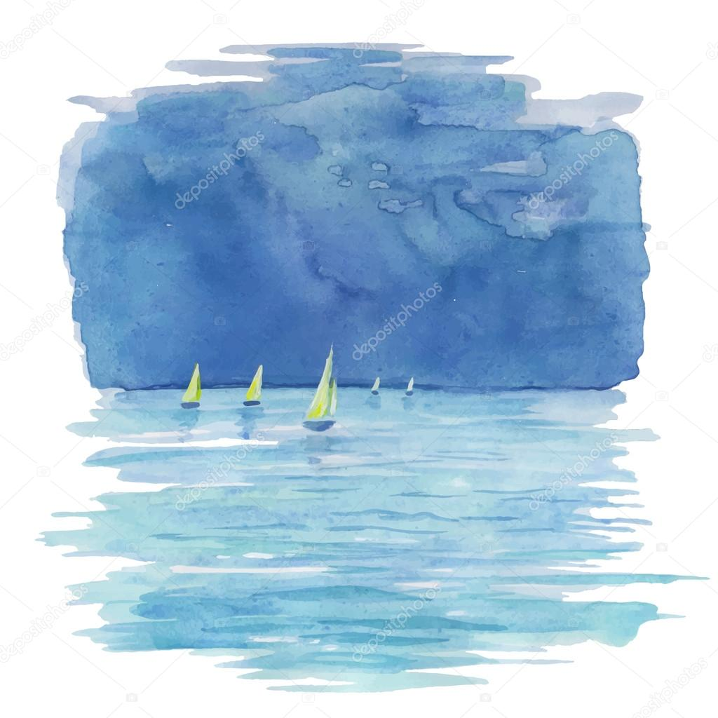 Watercolor illustration of sea and sailboats