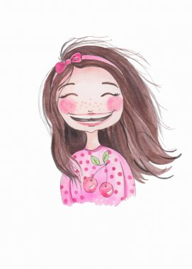 little girl with ribbon . Watercolor illustration. Hand drawing. Smiling face