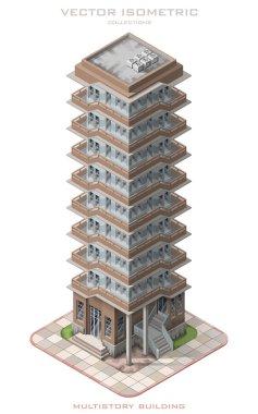 Isometric illustrationrepresenting multistory building.
